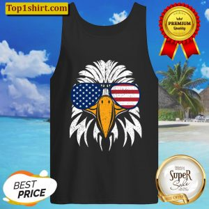 4th of July Bald Eagle Patriotic American Flag Glasses Tank Top