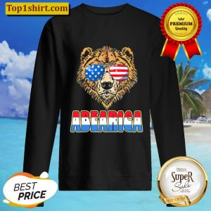 Abearica Funny USA Bear Sunglasses Fourth of July Vintage Sweater