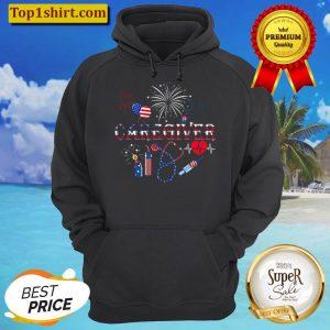 American Flag Fireworks Caregiver Shirt Patriotic Caregiver 4th of Ju Hoodie 1