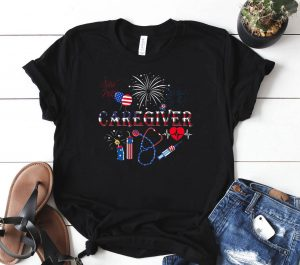 American Flag Fireworks Caregiver Shirt Patriotic Caregiver 4th of Ju Shirt