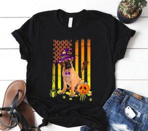 Bullmastiff Pumpkin American Flag Halloween Dog Shirt