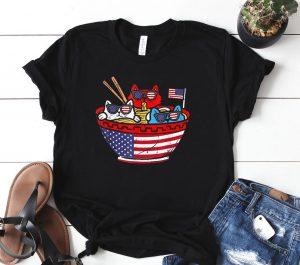 Cats Ramen Anime American Flag USA Shirt