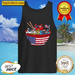 Cats Ramen Anime American Flag USA Tank Top