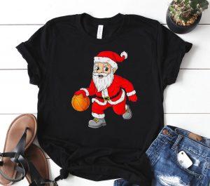 Christmas Santa Claus Dribbling A Basketball Xmas Classic Shirt