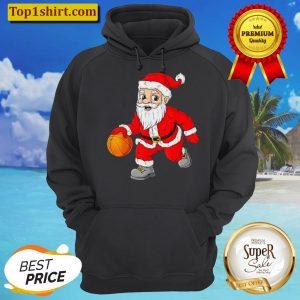 Christmas Santa Claus Dribbling A Basketball Xmas Unisex Hoodie