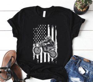 Dirt Bike American Flag Usa Patriotic Dirtbike Motocross Shirt