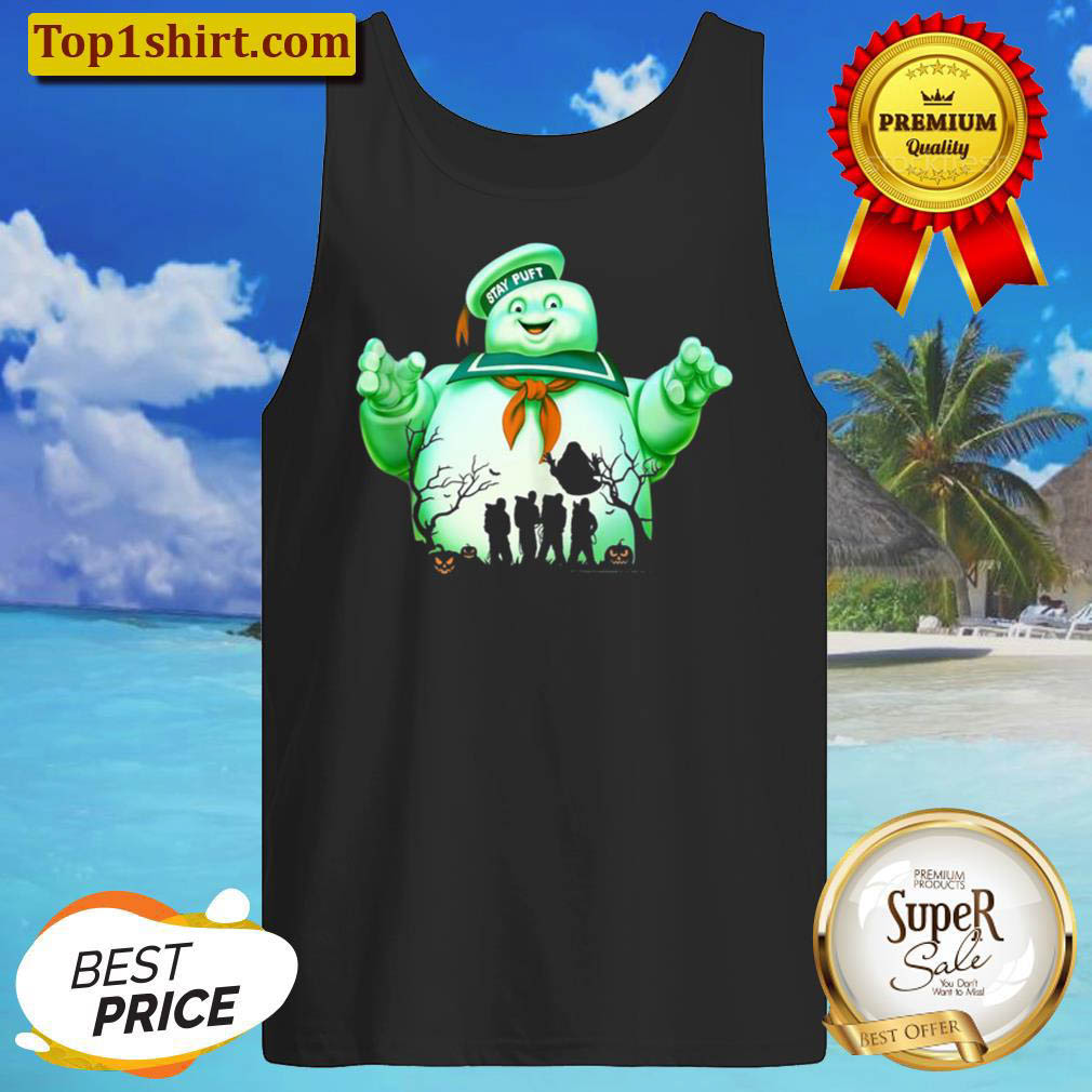 Ghostbusters Marshmallow Man Group Shot Silhouette Tank Top
