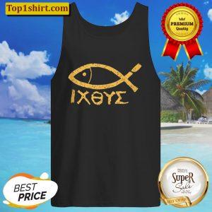 Ichthys Jesus Christ Son of God Savior Ancient Fish Symbol Tank Top