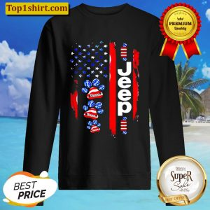 JEEP DOGS AMERICAN FLAG Sweater
