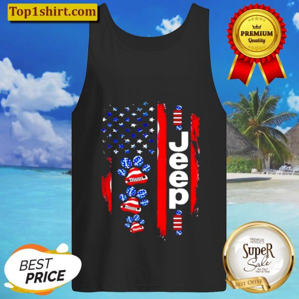 JEEP DOGS AMERICAN FLAG Tank Top