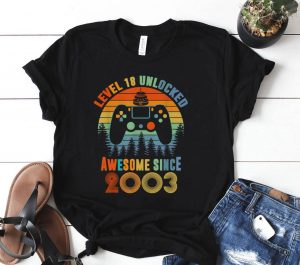 Level 18 Unlocked Awesome Since 2003 18th Birthday Shirt