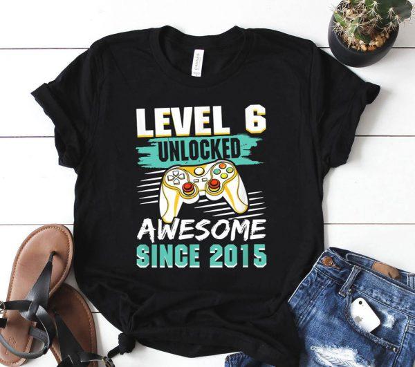 Level 6 Unlocked Awesome 2015 Video Game 6th Birthday Boys Shirt