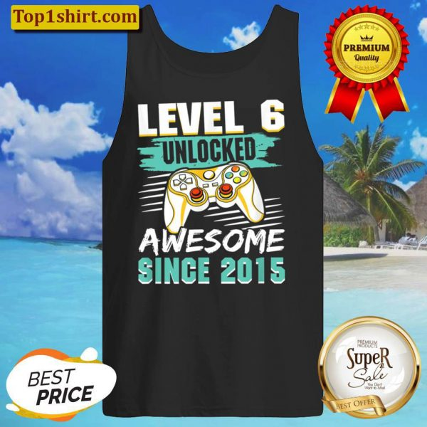 Level 6 Unlocked Awesome 2015 Video Game 6th Birthday Boys Tank Top