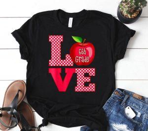 Love 5th Fifth Grade Teacher Shirt