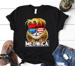 Meowica Cat Mullet American Flag Patriotic 4th of July Cat Shirt