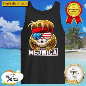 Meowica Cat Mullet American Flag Patriotic 4th of July Cat Tank Top