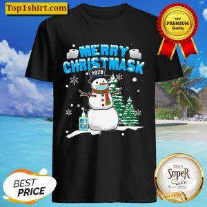 Merry Christmask Cool Snowman Wearing Mask Shirt
