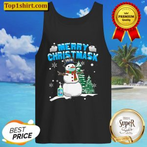 Merry Christmask Cool Snowman Wearing Mask Tank Top