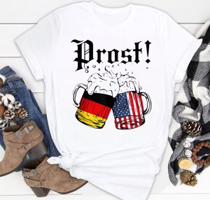 Prost Beer German American Flag Oktoberfest Men Mug Shirt