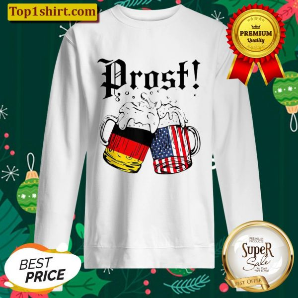 Prost Beer German American Flag Oktoberfest Men Mug Sweater