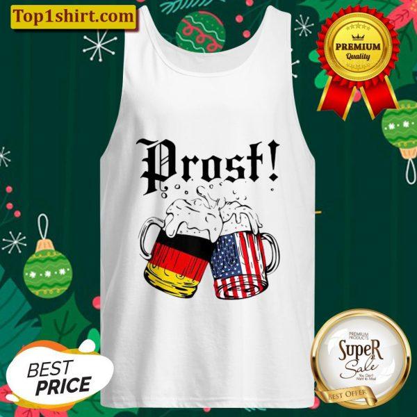 Prost Beer German American Flag Oktoberfest Men Mug Tank Top