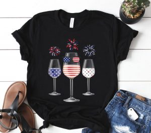 Red White Blue Wine Glasses American Flag Happy 4Th Of July Shirt