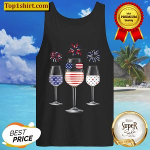 Red White Blue Wine Glasses American Flag Happy 4Th Of July Tank Top