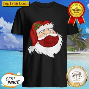 Santa Face Wearing A Mask Christmas Holiday Shirt