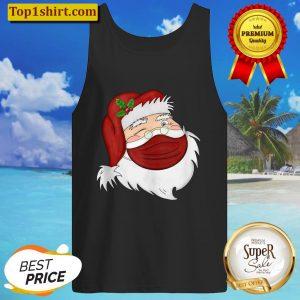 Santa Face Wearing A Mask Christmas Holiday Tank Top
