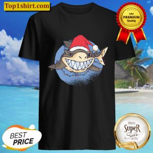 Shark Santa Claus Christmas Lights Xmas Funny Gift Idea Shirt
