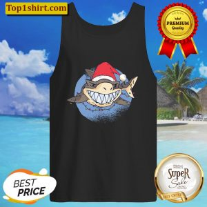 Shark Santa Claus Christmas Lights Xmas Funny Gift Idea Tank Top