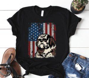 Shih Tzu American Flag Patriotic Shih Tzu Owner Gift Shirt