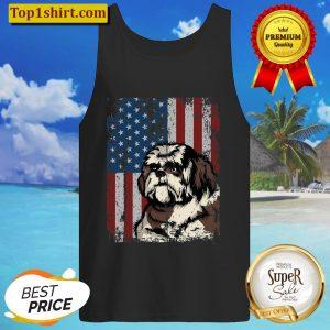 Shih Tzu American Flag Patriotic Shih Tzu Owner Gift Tank Top