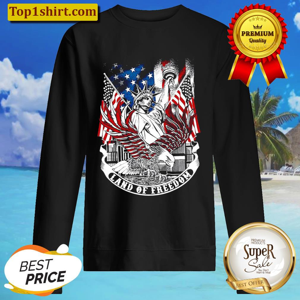 Statue of Liberty land of freedom American flag Sweater