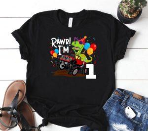 T Rex Dinosaur Monster Truck Birthday S For Boys Shirt