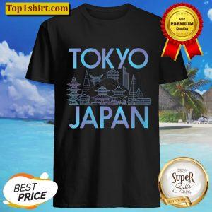 Womens Japanese Culture Tokyo City graphic Anime Travel V-Neck Shirt