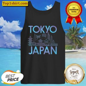 Womens Japanese Culture Tokyo City graphic Anime Travel V-Neck Tank Top