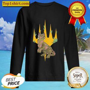 Womens Magic The Gathering Dinosaur Cat Logo V Neck Sweater