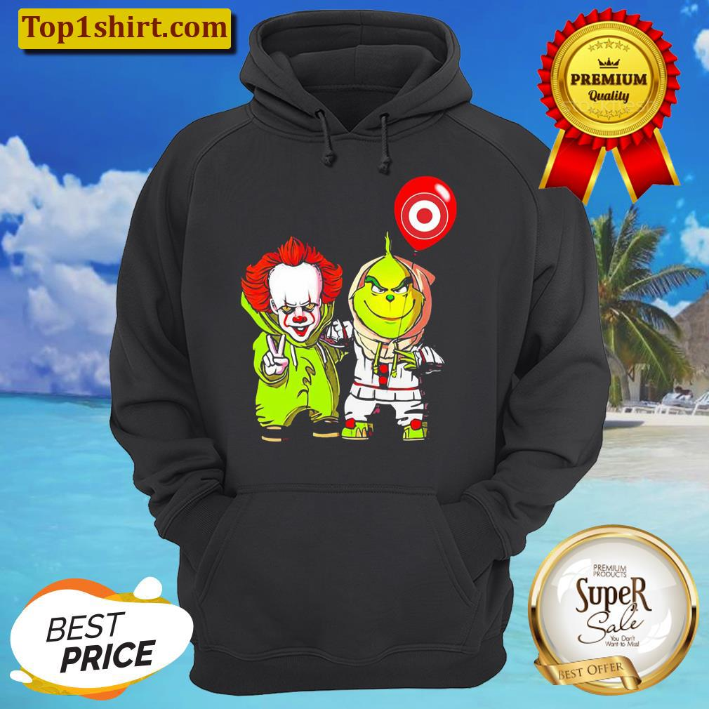 friends pennywise and the grinch balloon target logo unisex hoodie
