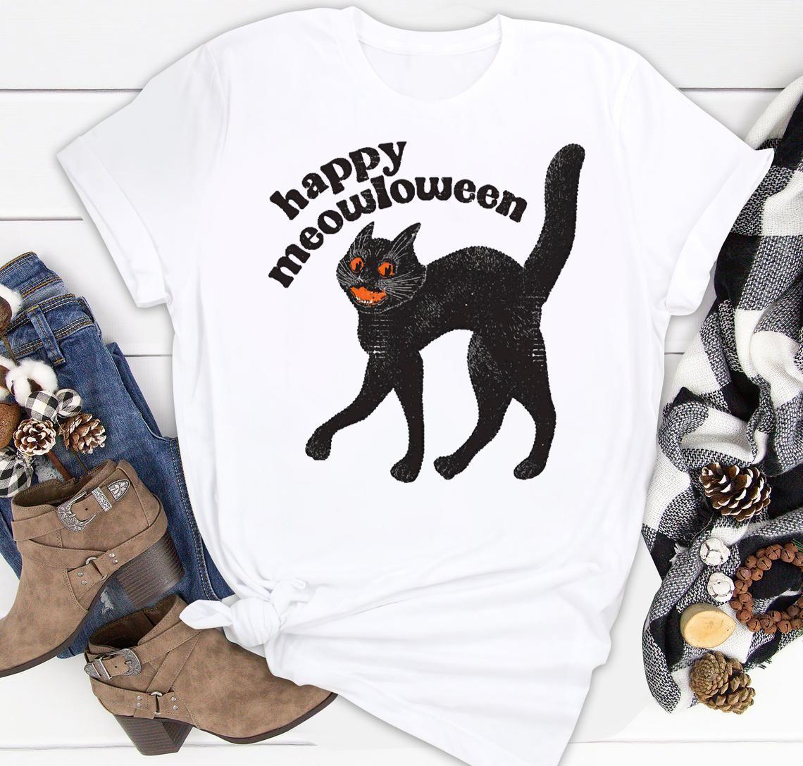 happy meowloween vintage black cat halloween design classic shirt