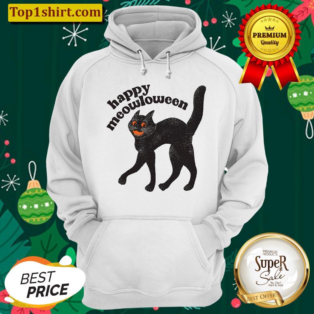 happy meowloween vintage black cat halloween design unisex hoodie