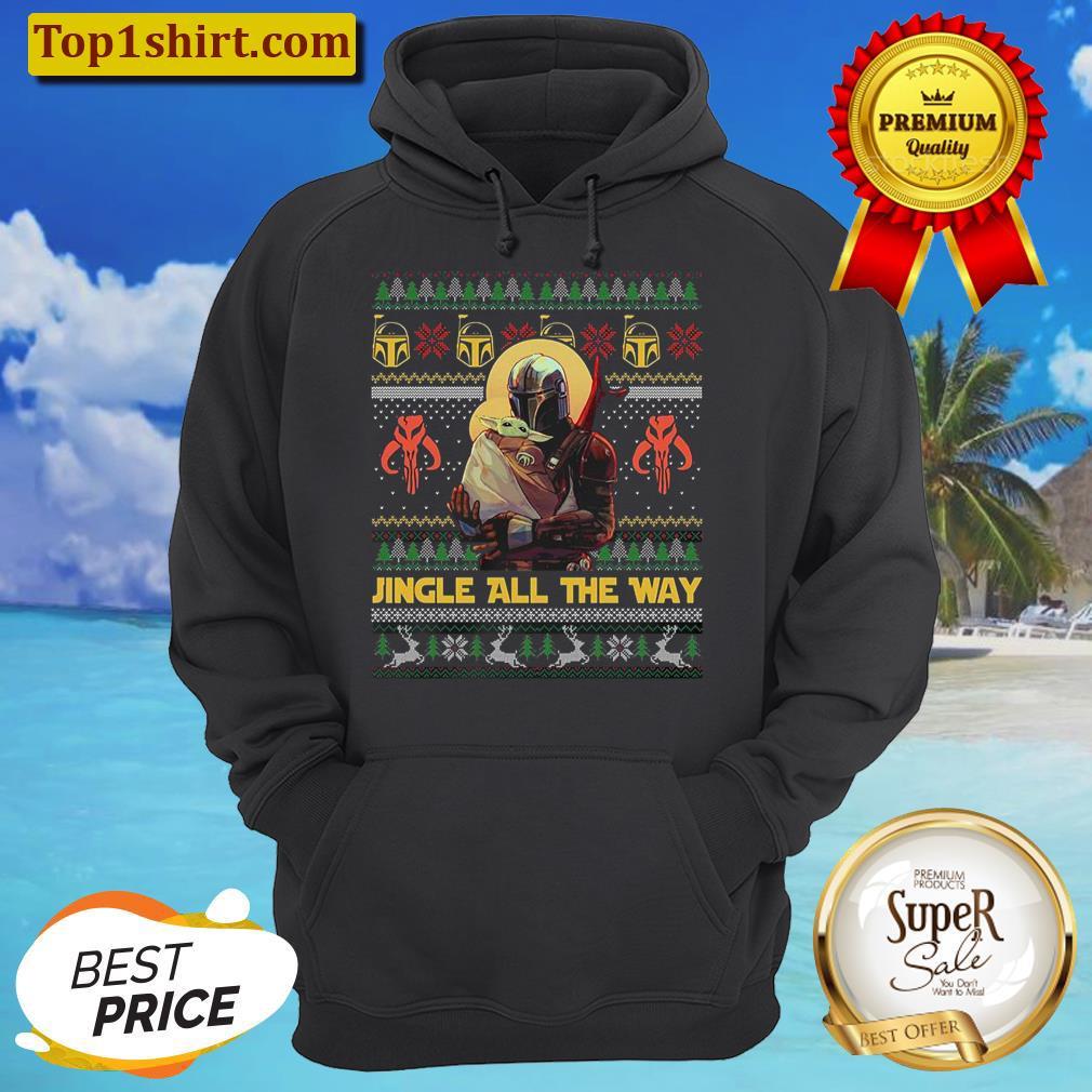 mandalorian baby yoda jingle all the way christmas unisex hoodie