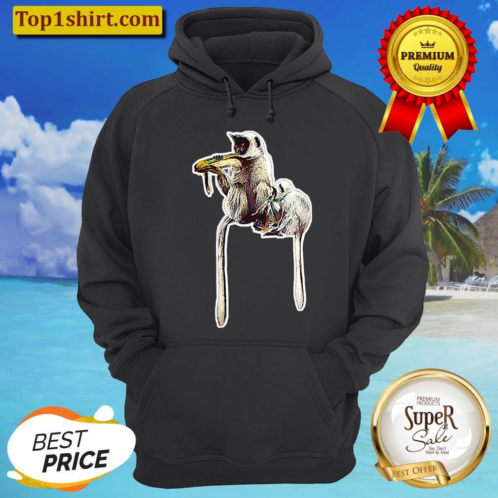 mother monkey and little monkey eating banana unisex hoodie
