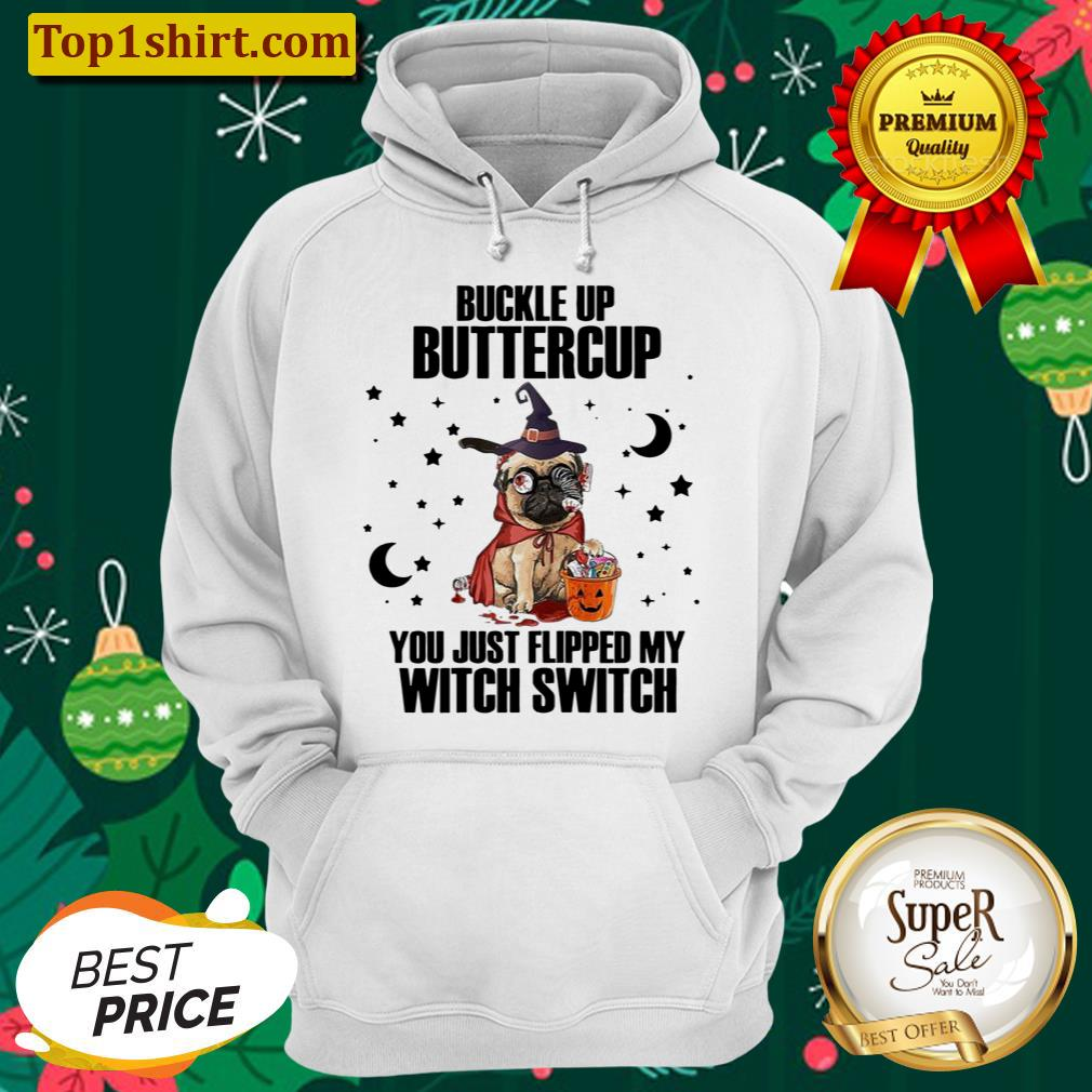 pug dog buckle up buttercup you just flipped my witch switch halloween unisex hoodie