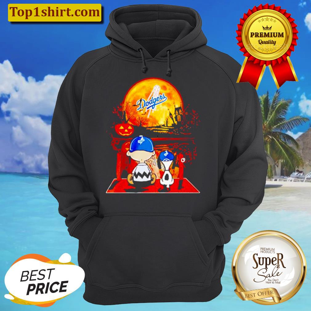 snoopy and charlie brown los angeles dodgers happy halloween unisex hoodie