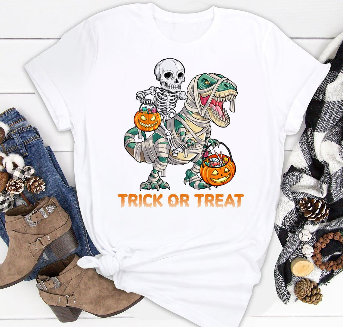 Trick Or Treat Skeleton Riding Mummy Dinosaur Halloween Men And Women Shirt Classic T-shirt