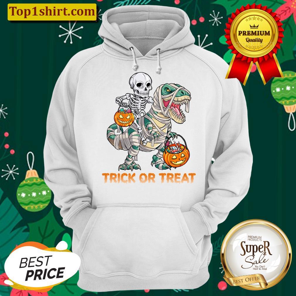 Trick Or Treat Skeleton Riding Mummy Dinosaur Halloween Men And Women Shirt Unisex Hoodie