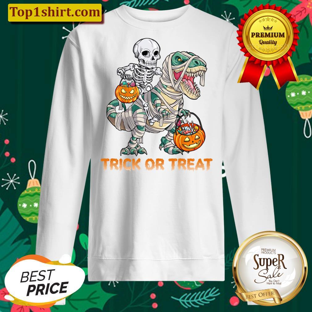 Trick Or Treat Skeleton Riding Mummy Dinosaur Halloween Men And Women Shirt Unisex Sweater