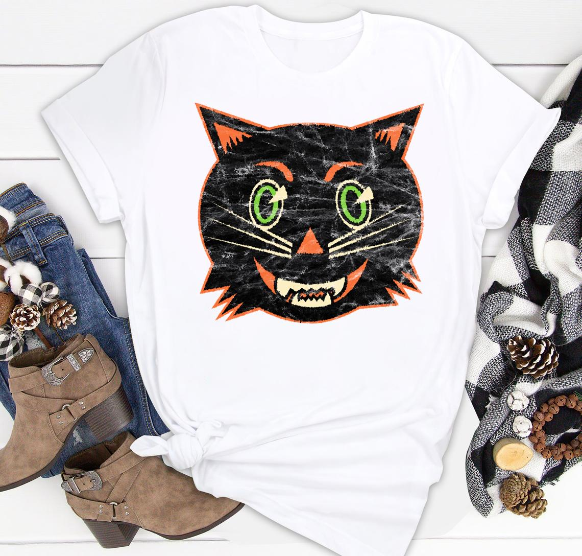 vintage halloween black cat classic shirt