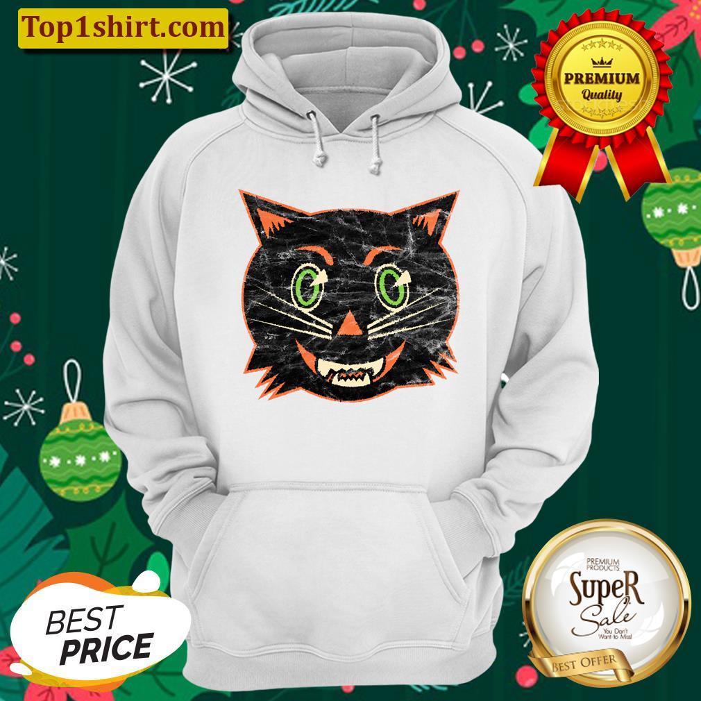 vintage halloween black cat unisex hoodie